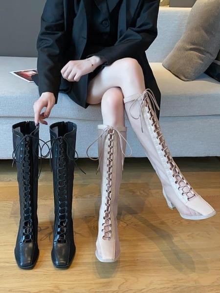 復古長靴女英倫風2020新款網紅不過膝靴粗跟鏤空涼靴顯瘦高筒靴潮