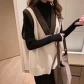 秋冬複古無袖套頭毛衣背心女針織背心寬鬆v領韓版外穿學院風上衣
