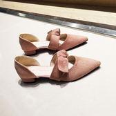 春夏尖頭粗跟單鞋女淺口蝴蝶結矮跟低跟3cm裸粉色中空小跟涼鞋