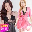 性感罩衫 黑/玫紅 性感玫瑰薄紗蕾絲腰綁帶外搭調情兩件式連身睡衣 仙仙小舖