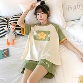 短袖居家睡衣女純棉薄款韓版學生夏天可愛星星休閒套裝家居服夏季