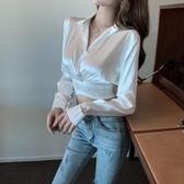 限時特價 性感時尚洋氣交叉小心機露臍燙鉆短款襯衫夏季黑襯衣上衣女裝