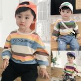 男童衛衣秋裝新款彩條紋嬰兒上衣寶寶洋氣潮衣長袖兒童衣服小 布衣潮人