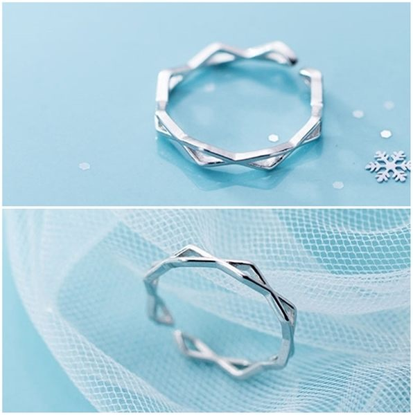 925純銀 菱形幾何縷空 細版C型可調整戒指 防抗過敏 不退色