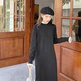 連衣裙 赫本風黑色針織毛衣連衣裙子2021年新款春女裝打底內搭顯瘦氣質【快速出貨八折搶購】