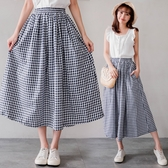 MIUSTAR 夏日配色藍格鬆緊腰隱藏口袋大圓裙(共1色)【NH1261】預購
