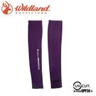 【Wildland 荒野 中性印花開洞抗UV透氣袖套《紫》】W1810/春夏款/抗UV/防曬袖套