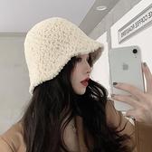 漁夫帽女毛絨百搭帽子秋冬季水桶帽【少女顏究院】