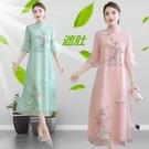 旗袍 改良版旗袍式連身裙漢服女復古夏裝2021年新款中國風民國媽媽時尚 非凡小鋪