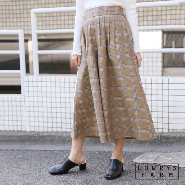 LOWRYS FARM素色格紋腰部鬆緊打褶長裙褲-五色