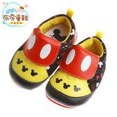 布布童鞋 Disney迪士尼米奇黑黃印花寶寶學步鞋(13~15公分) [ MAW251D ] 黑色款