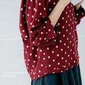 棉麻衫 日氛拉克蘭袖波點棉麻衫  四色-小C館日系