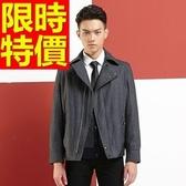 毛呢大衣灑脫俐落-修身潮男拉鏈短版男外套1色61x33[巴黎精品】