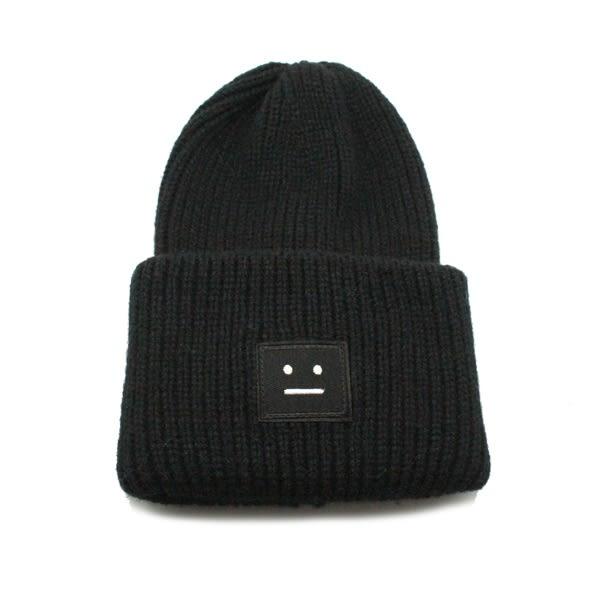 OT SHOP帽子‧無表情方塊反摺雙層針織‧毛帽針織帽保暖帽‧歐美保暖中性情侶款‧現貨黑色‧C1746