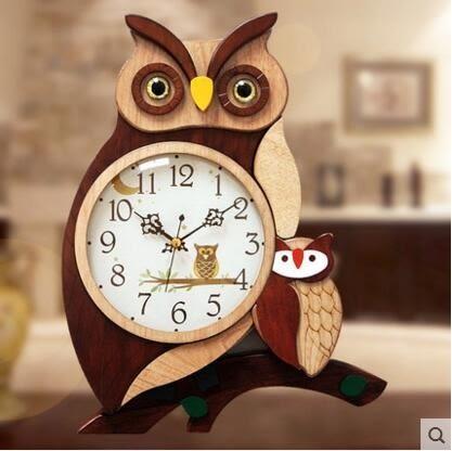 凱樂絲卡通貓頭鷹木質掛鐘歐式家居飾品創意鐘錶客廳牆面裝飾挂件