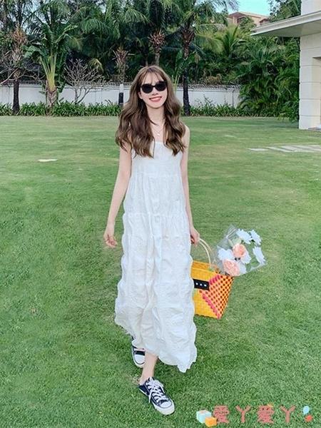 吊帶洋裝海邊度假吊帶連身裙三亞沙灘旅游拍照穿搭小清新白長裙夏超仙氣質 愛丫
