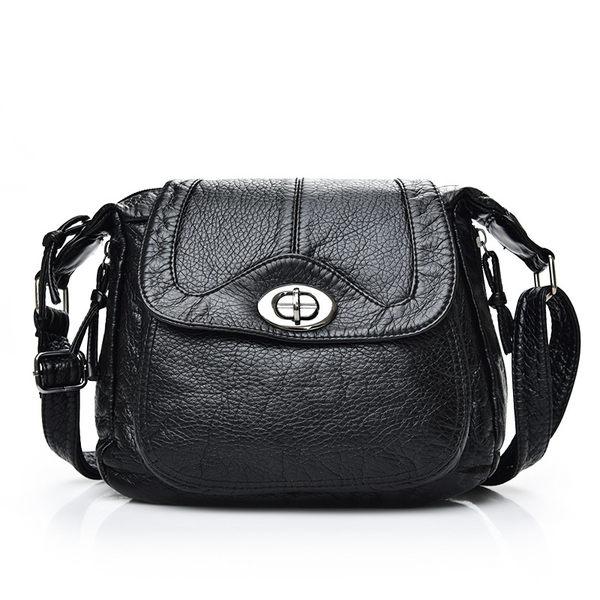 女包包 現貨 側背包 新款優質水洗皮轉釦斜背包 -181 黑武士 禮物