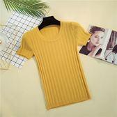 夏季新款冰絲低圓領短款套頭針織T恤女針織衫緊身短袖上衣打底衫   mandyc衣間
