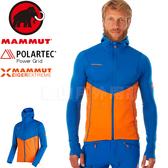 Mammut長毛象 1010-24680-5925冰藍/日出橙 男連帽刷毛機能外套 Eiswand Advanced保暖風衣外套/防寒夾克