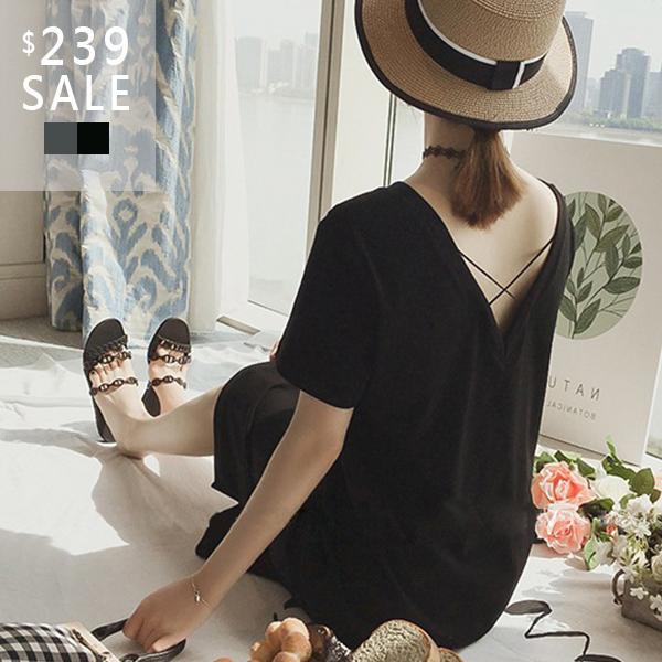 SISI【D9044】春夏韓版慵懶休閒小性感V領露背交叉線條中長款短袖T恤洋裝連身裙連衣裙
