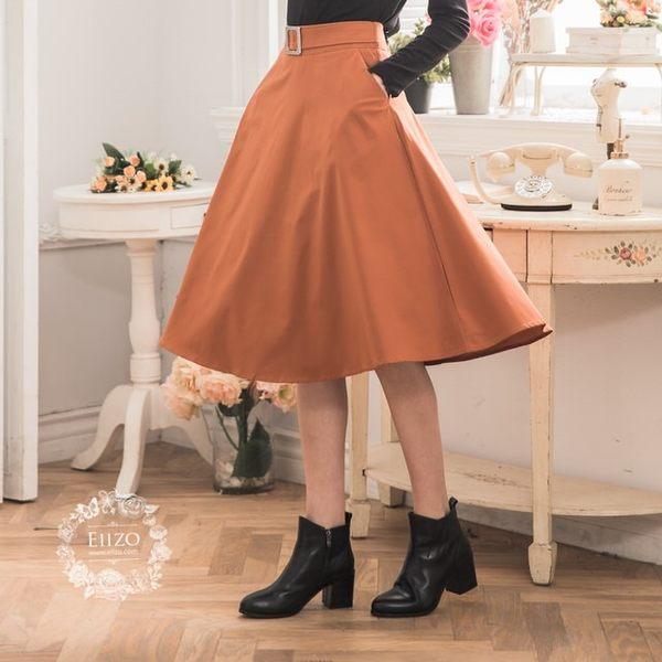 【EIIZO】A字及膝口袋圓裙(橘)