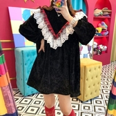 洋裝韓國chic秋冬法式復古重工拼接蕾絲花邊寬鬆中長款絲絨娃娃洋裝 蜜拉貝爾