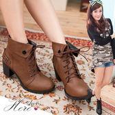 [Here Shoes]2色 嚴選中性反摺扣環設計繫帶 6.5CM高跟粗跟短靴 ◆MIT台灣製─KD2179