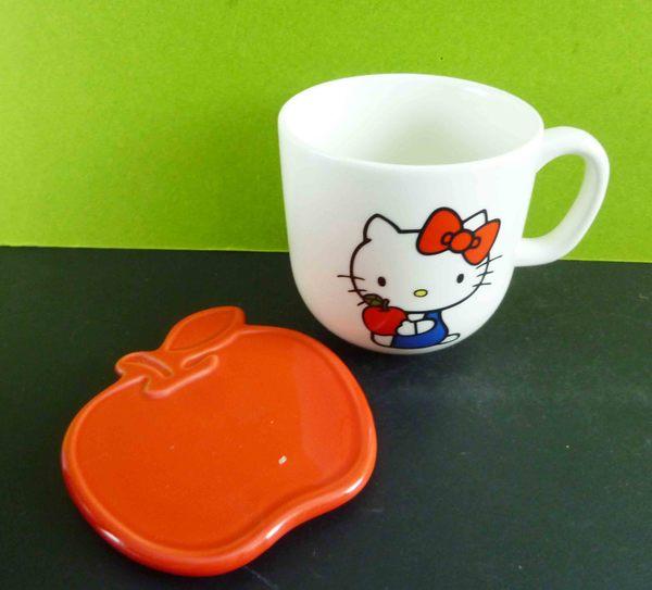 【震撼精品百貨】Hello Kitty 凱蒂貓~附蓋馬克杯-紅蘋果