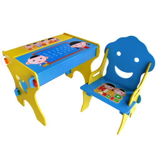 【奇買親子購物網】Kikimmy小博士畫板書桌椅組(微笑藍)