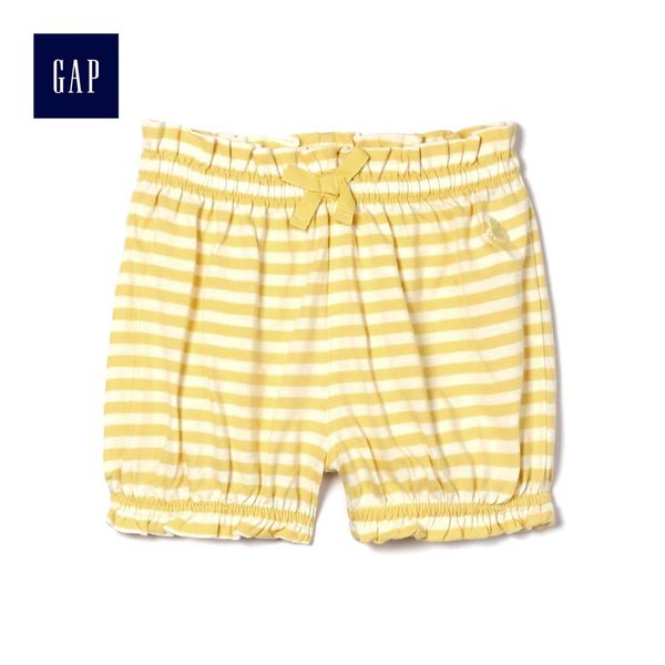Gap女嬰兒 布萊納小熊刺繡條紋鬆緊腰燈籠短褲 441308-閃亮微光