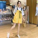 網紅減齡背帶褲套裝女夏2019新款韓版寬鬆休閒連體闊腿短褲兩件套 喵小姐