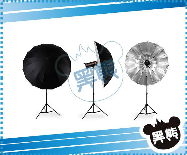 黑熊館 神牛 GODOX 60吋 150cm 黑銀反光傘 反射傘 柔光傘 無影罩 纖維骨架 棚燈 閃光燈