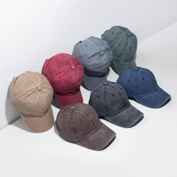 夏季薄款女韓版百搭棒球帽帽子男做舊光板遮陽復古水洗鴨舌帽可調 時尚芭莎