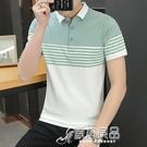 polo衫 2021夏季新款男短袖POLO衫青年韓版修身翻領T恤上衣111#