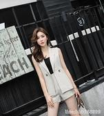 西裝馬甲 套裝女夏新款韓版氣質顯瘦OL棉麻馬甲西裝洋氣短褲兩件套薄款 瑪麗蘇