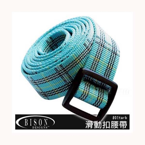 [BISON DESIGN] 滑動扣腰帶25mm-方格呢藍 (BD 01TARB)
