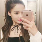正韓新款韓國復古珍珠蝴蝶結黑色麂皮絨繫帶脖頸鏈項圈短款鎖骨鏈【新店開張八八折下殺】
