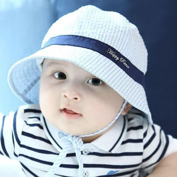 小童條紋遮陽帽 盆帽.圓帽  防曬帽 有防風繩 橘魔法 Baby magic 兒童 嬰兒 小童