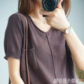 v領棉麻針織短袖寬鬆體恤純棉半袖T恤女上衣薄 格蘭小舖
