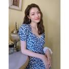 碎花連衣裙夏 鐘楚曦同款藍色碎花方領開叉茶歇法式連衣裙赫本風雪紡桔梗長裙子 設計師