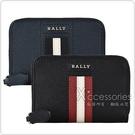 BALLY TIVY銀字LOGO紅白紅條紋牛皮2卡拉鍊零錢包(黑)
