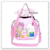 ♥小花花日本精品♥ Hello Kitty 2way帆布托特包粉色站姿繽紛小圖手提包側背包外出包 42157403