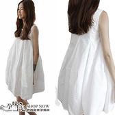 現 春夏必備款清涼顯瘦素面孕婦洋裝 白【CMH6283】孕味十足
