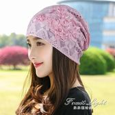 頭巾帽 帽子女薄光頭帽透氣包頭帽夏季蕾絲套頭帽百搭頭巾月子空調帽 限時特惠