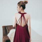 居家服 露背睡裙莫代爾棉冰絲寬鬆大碼睡衣女夏性感清新吊帶洋裝新薄款