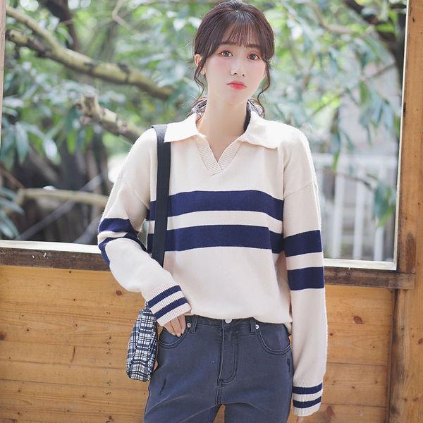 2019新款秋冬Polo領長袖打底針織衫毛衣女學生條紋休閒上衣