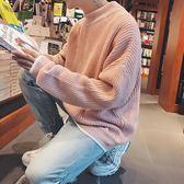 新品圓領長袖針織衫毛衣男正韓潮流寬鬆素面上衣