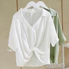 短袖襯衫 V領白襯衫女設計感小眾短袖新款寬鬆顯瘦下擺打結上衣女夏 2021新款