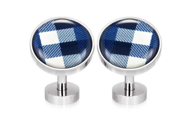 不鏽鋼袖釦 - CHECK BLUE 格紋藍 圓形