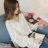 藍色巴黎 ★ 韓系V領燈籠長袖镂空網紗蕾絲衫兩件上衣 涼感罩衫【28542】